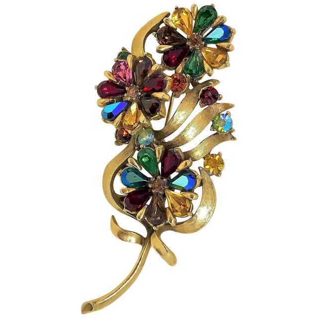 1960s Coro Jewel-Tone Faceted Stone Brooch For Sale In Los Angeles - Image 6 of 6