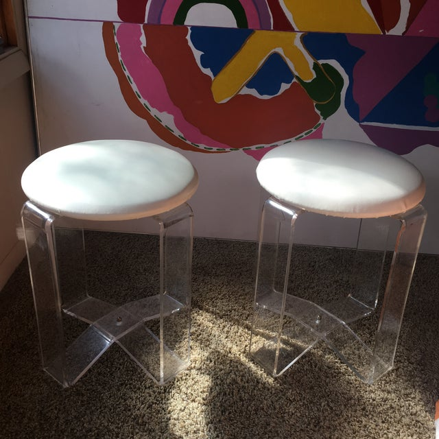 White Mid-Century Modern Lucite Vanity Stools- a Pair For Sale - Image 8 of 13