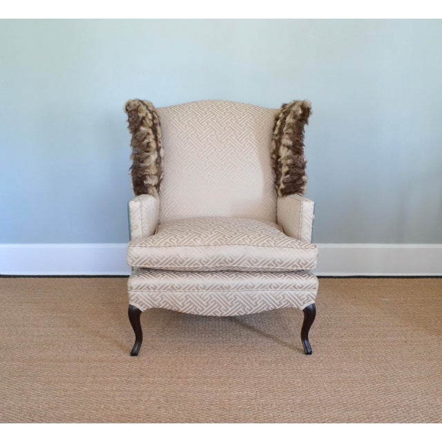 Boho Chic Silk & Fur Teal & Champagne Wingback Chair For Sale - Image 3 of 9
