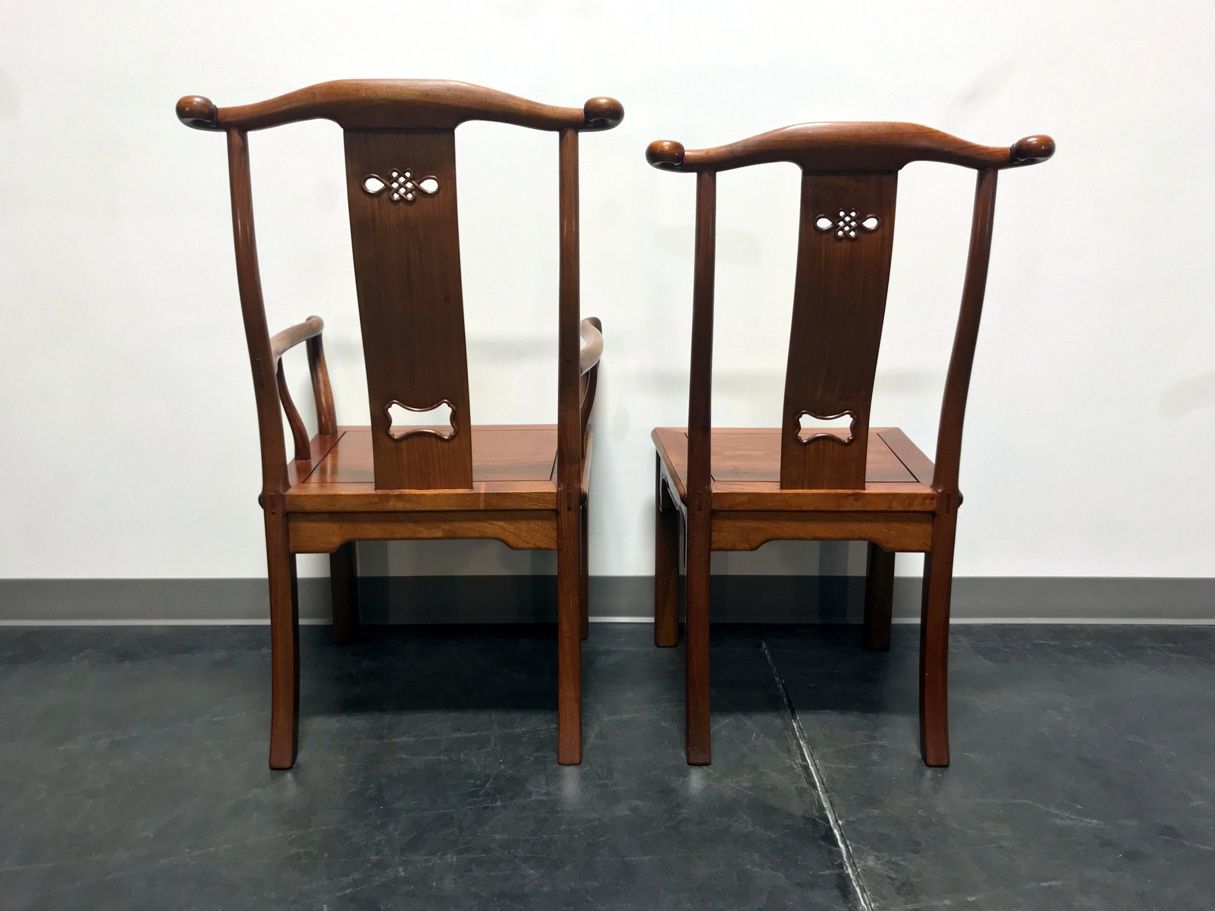 Solid Rosewood Carved Asian Dining Chairs Set of 6