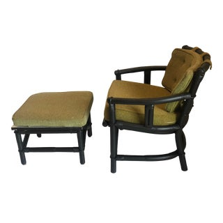 1970s Ficks Reed Mid-Century Bamboo Rattan Lounge Chair Ottoman Set For Sale