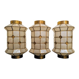 Mid-Century Modern Capiz Shell Lanterns - Set of 3