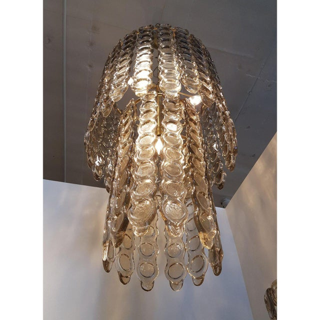 Mid 20th Century Mazzega Style Murano Smoked Glass Chandelier For Sale - Image 5 of 6