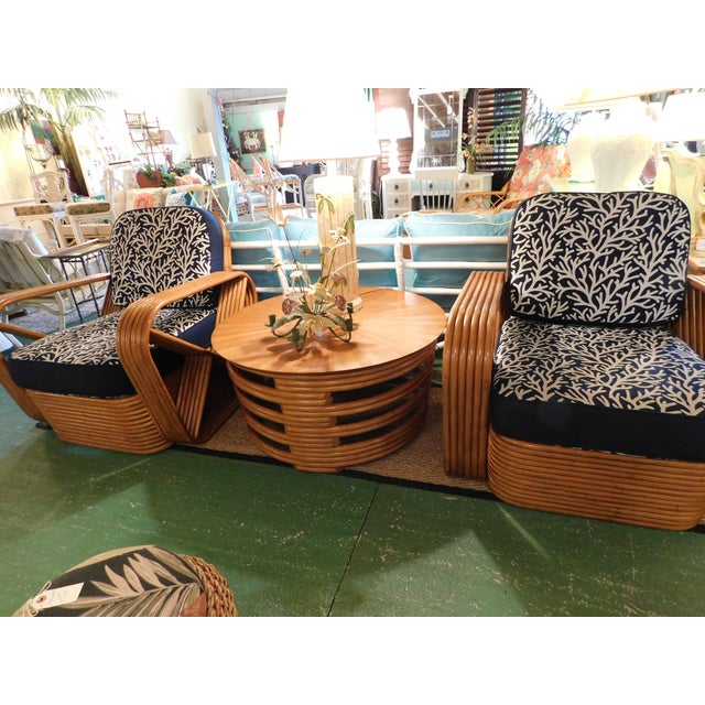 Thirteen Strand Paul Frankl Rattan Chairs & Side Table - Set of 3 For Sale - Image 11 of 11