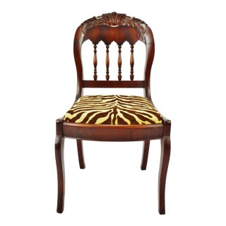 Vintage Victorian Style Side Chair With Animal Print Cushion For Sale