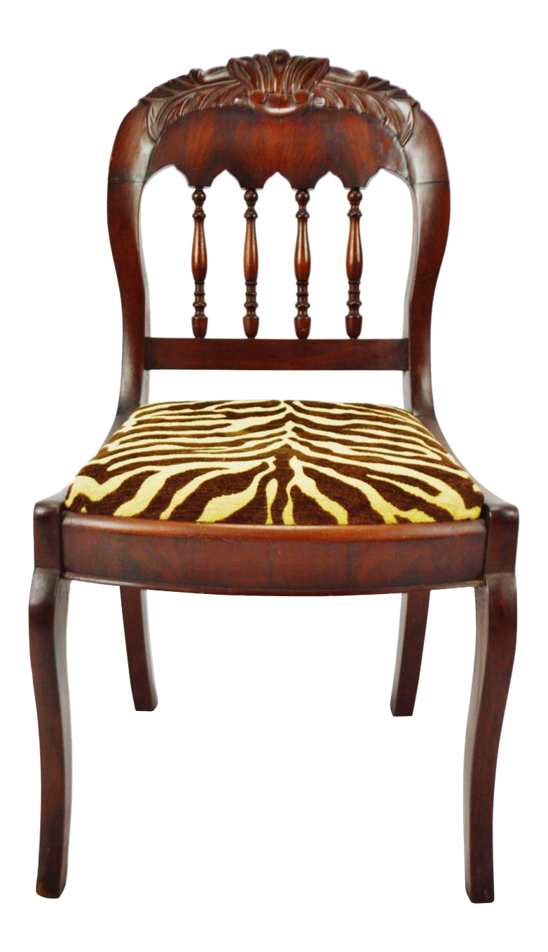 Incroyable Vintage Victorian Style Side Chair With Animal Print Cushion