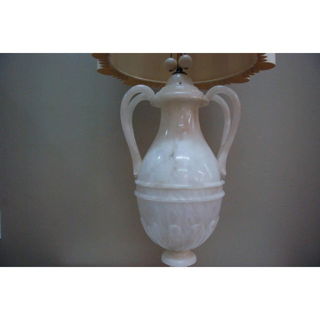 White Circa 1950 Hand-Carved Italian Hollywood Regency Alabaster Lamp For Sale - Image 8 of 11
