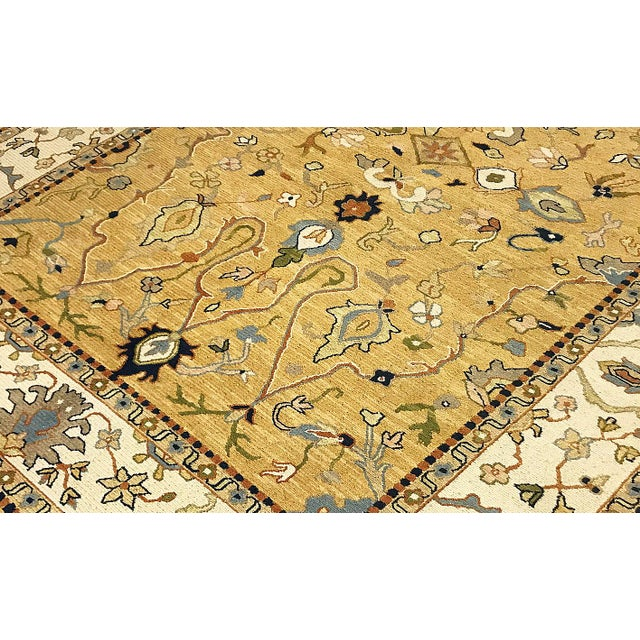 Traditional Contemporary Traditional Tan & Gold Hand Woven Rug - 6′ × 8′5″ For Sale - Image 3 of 4