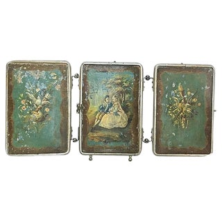 Antique Painted 3-Panel Vanity Mirror For Sale