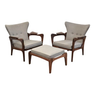 Adrian Pearsall Grey Walnut Lounge Chairs - Set of 3 For Sale