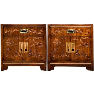 Drexel Heritage Dynasty Collection Campaign Nightstands - a Pair