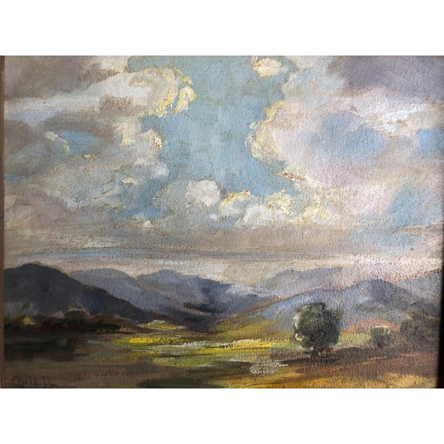 1920s 1920s Olivia D Pennington Countryside Landscape Oil on Canvas Signed Painting For Sale - Image 5 of 8