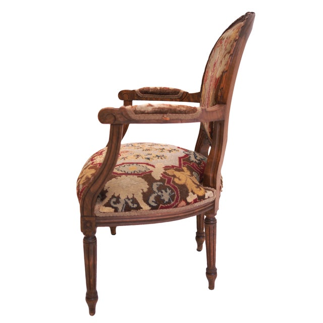 French-Style Needlepoint Armchair - Image 4 of 5