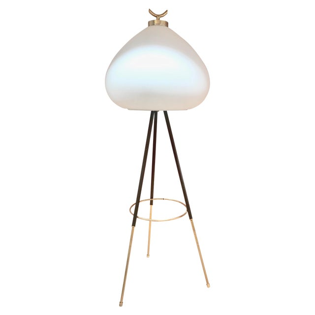 Tripod Floor Lamp in Brass and Milk Glass, Italy, 1960s For Sale