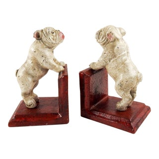 Cast Iron Bull Dog Bookends For Sale