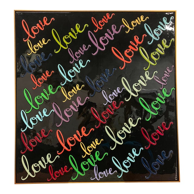 Monumental Art Framed Oil Painting With Resin on Canvas With Love Words by Franchy For Sale