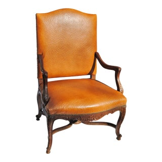 Vintage French Fauteuil Newly Upholstered in Edelman Faux Ostrich Leather For Sale