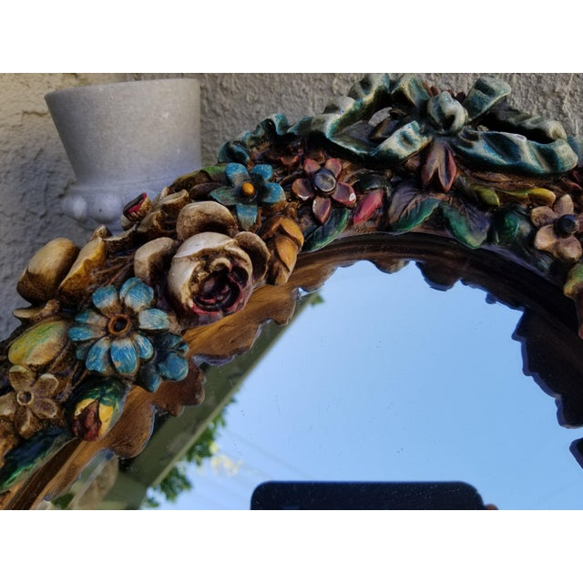 Country Barbola Flower Mirror For Sale - Image 3 of 9
