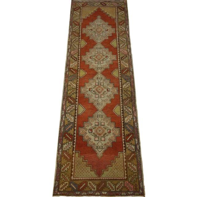Vintage Turkish Oushak Rug - 3′ × 9′8″ For Sale