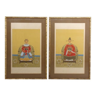 Striking Pair of Ancestral Gouache Paintings on Silk in Gilded Faux Bamboo Frames. For Sale