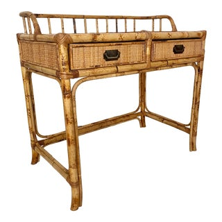Vintage Rattan Woven Desk For Sale