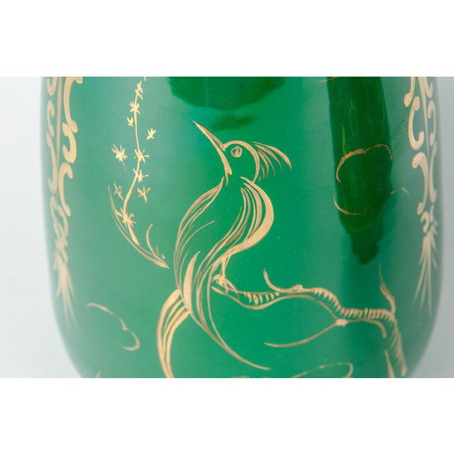 Vintage Italian Green Porcelain Decorative Vases - a Pair For Sale - Image 4 of 11