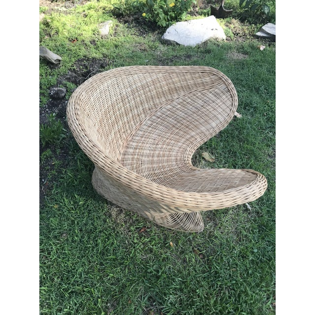 1970s 1970s Boho Chic Wicker Meditation Chair For Sale - Image 5 of 9