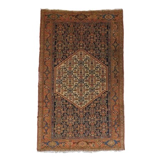 19th Century Antique Persian Rug- 4′ × 5′10″ For Sale