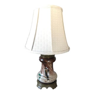 Baccarat Hand Painted Bird Table Lamp For Sale