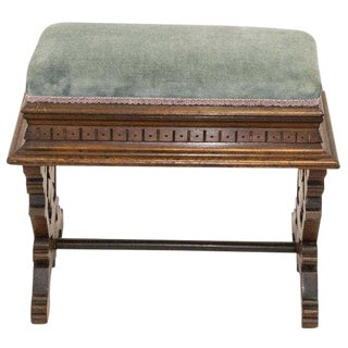 Antique Victorian Carved Velvet Stool Window Seat Bench Piano Bench