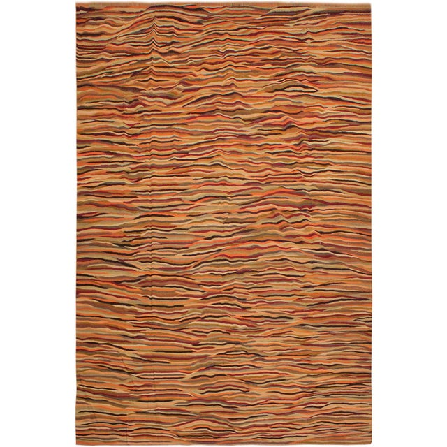 Gold Modern Suk Ivory/Gold Hand-Woven Kilim Wool Rug -10'0 X 14'0 For Sale - Image 8 of 8