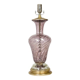 1940s Silver Leaf Infused Pink Murano Glass Lamp For Sale