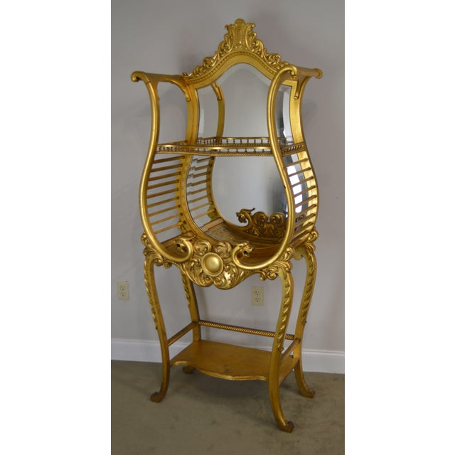 High Quality Carved Gilt Wood 19th Century Etagere with Beveled Mirror
