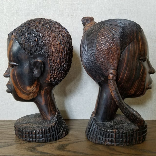 African African Zebra Wood Male & Female Busts, a Pair For Sale - Image 3 of 9