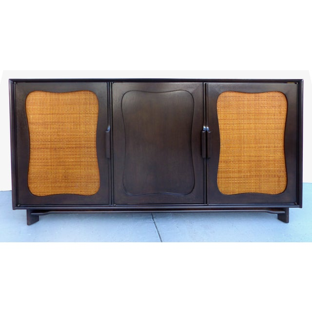 Lacquered 50's Credenza With Woven Cane Doors - Image 2 of 10