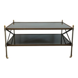 1980s Campaign Brushed Brass X Base Two-Tiered Coffee Table For Sale