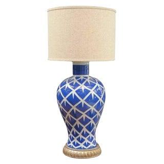 Indigo Chicken Feather Lamp For Sale