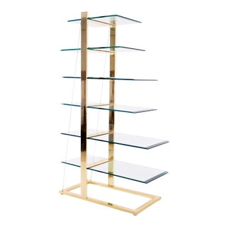 Milo Baughman for Dia Style Brass & Glass 6 Tier Cantilever Display Shelf For Sale