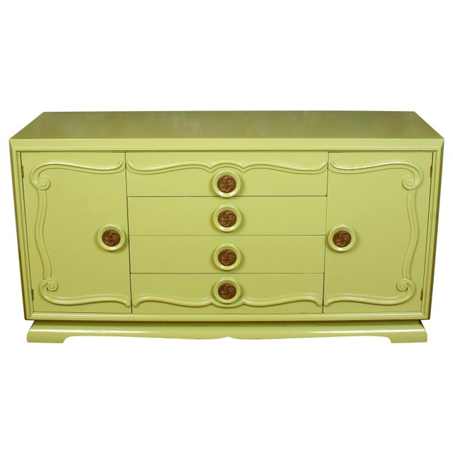 Mid 20th Century Midcentury Credenza Painted Green, circa 1960 For Sale - Image 5 of 5