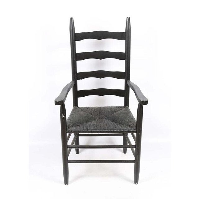 1960s Vintage Country Farmhouse Rush Seat Ladder Back Black Dining Chairs - Set of 6 For Sale - Image 5 of 8