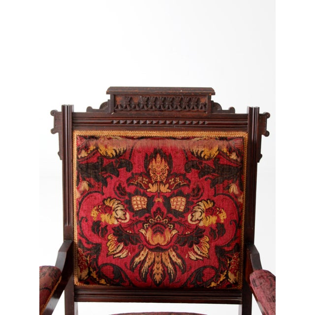 Antique Upholstered Arm Chair For Sale - Image 5 of 11