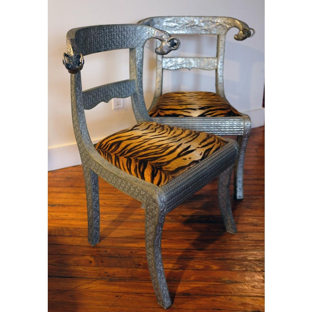 Antique Anglo-Indian Silvered Wrapped Wood Side Chairs - a Pair For Sale In New York - Image 6 of 6