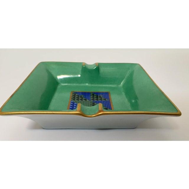 Limoges, France Limoges, France Modern Porcelain Square Green and Gold Ashtray For Sale - Image 4 of 12