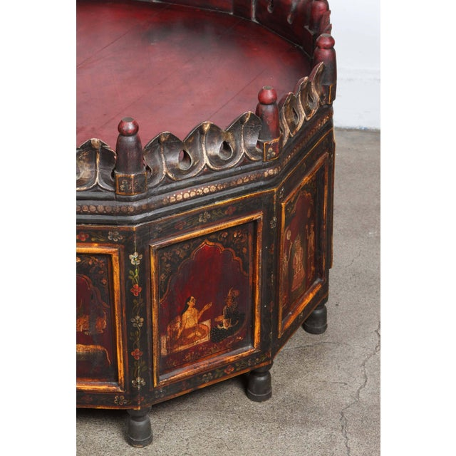 20th Century Anglo Indian Hand-Painted Teak Coffee Table For Sale - Image 4 of 10