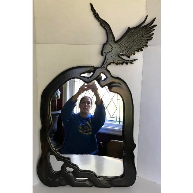 1960s 1960s Vintage Handmade Wood Mirror With Carved Eagle Detail For Sale - Image 5 of 5