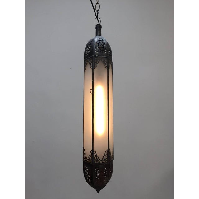 Mid Century Handcrafted Moroccan Moorish Milky Glass Pendant Light For Sale In Los Angeles - Image 6 of 13
