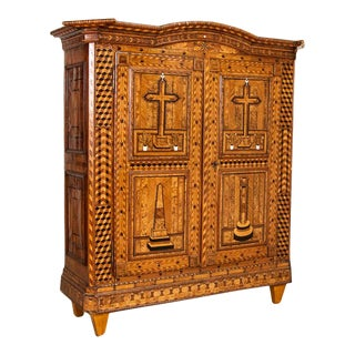 Antique Highly Inlaid Marquetry 2 Door Armoire For Sale