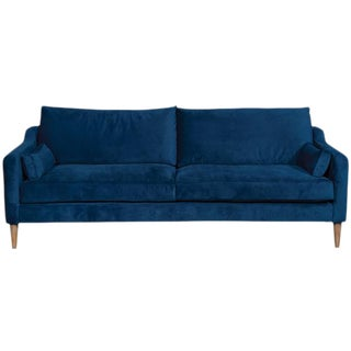 "86"" Vanguard Performance Navy Ultrasuede Mid-Century Inspired 2-Cushion Sofa For Sale"
