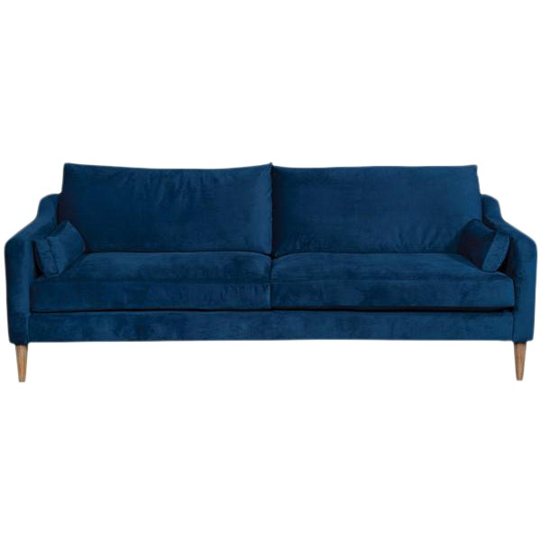 """86"""" Vanguard Performance Navy Ultrasuede Mid-Century Inspired 2-Cushion Sofa For Sale"""