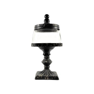 Glass Apothecary Jar on Metal Pedestal With Finial Lid Top For Sale